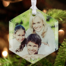 Snowflakes Personalized Photo Glass Ornament Hexagon 3