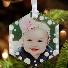 Snow Personalized Photo Glass Ornament Hexagon 3