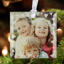 """Triangles Personalized Photo Glass Ornament Square 3"""""""