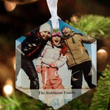 "Joy Personalized Photo Glass Ornament Hexagon 3"""