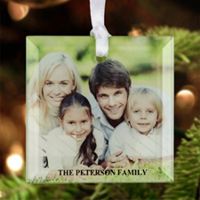 Striped Year Personalized Photo Glass Ornament Square 3""
