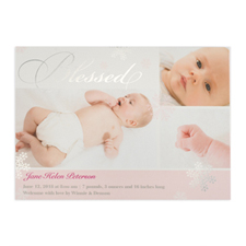 Create Your Own Blessed Silver Foil Personalized Photo Girl Birth Announcement, 5X7 Card Invites