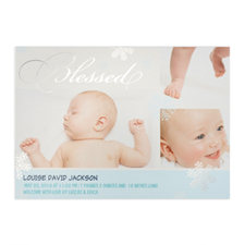 Create Your Own Blessed Silver Foil Personalized Photo Boy Birth Announcement, 5X7 Card Invites