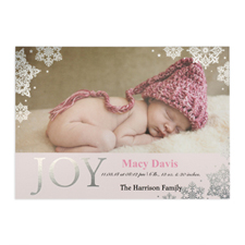 Create Your Own Joy Foil Silver Personalized Photo Girl Birth Announcement, 5X7 Card Invites