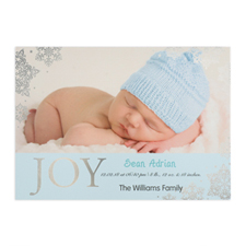Create Your Own Joy Foil Silver Personalized Photo Boy Birth Announcement, 5X7 Card Invites