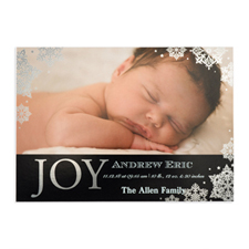 Create Your Own Joy Foil Silver Personalized Photo Birth Announcement, 5X7 Card Invites