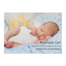 Create Your Own Hello Foil Gold Personalized Photo Birth Announcement, 5X7 Card Invites