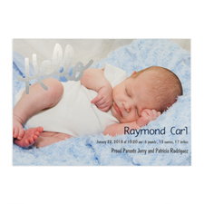 Create Your Own Hello Foil Silver Personalized Photo Birth Announcement, 5X7 Card Invites
