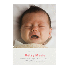 Create Your Own Introducing Foil Silver Personalized Birth Announcement, 5X7 Card Invites