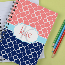 Personalized Navy Pink Clover Notebook