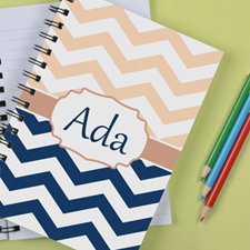 Personalized Navy Pink Chevron Notebook