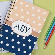Personalized Navy Carol Polka Dot Notebook