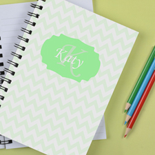 Personalized Pastel Lime Chevron Notebook