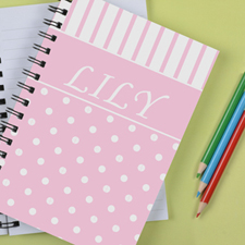 Personalized Pink Dot Stripe Notebook