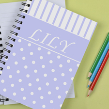 Personalized Lavender Dot Stripe Notebook