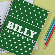 Personalized Green Dots Notebook