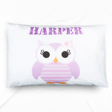 Lavender Owl Personalized Name Pillowcase