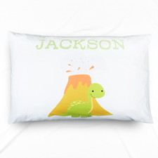 Lime Dinosaur Personalized Name Pillowcase