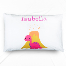 Fuchsia Dinosaur Personalized Name Pillowcase