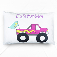 Purple Truck Personalized Name Pillowcase For Kids