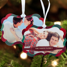 Red Christmas Personalized Metal Ornament Ornate 3