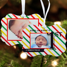 First Christmas Personalized Metal Ornament Ornate 3