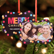 Merry Christmas Lights Personalized Metal Ornament Ornate 3