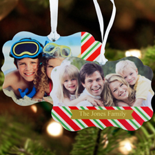 Happy Holiday Personalized Metal Ornament Ornate 3