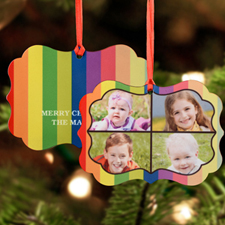 Colorful Stripes Personalized Metal Ornament Ornate 3