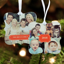 New Year Personalized Photo Metal Ornament Ornate 3