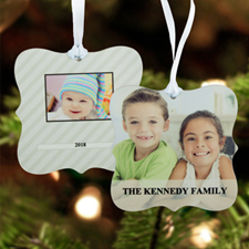 Stripe Personalized Photo Metal Ornament Ornate 3