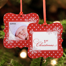 First Snowflake Personalized Photo Christmas Metal Ornament Square 3x3