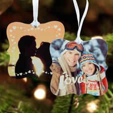 Love Personalized Photo Metal Ornament Ornate 3