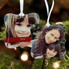 Happy Holiday Personalized Photo Metal Ornament Ornate 3