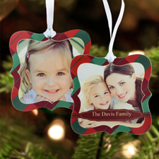 Red Christmas Personalized Photo Metal Ornament Ornate 3