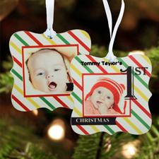 First Christmas Personalized Photo Metal Ornament Ornate 3
