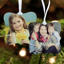 Joy Personalized Photo Metal Ornament Ornate 3