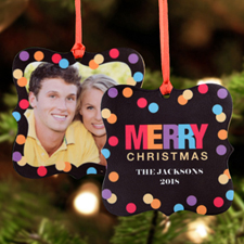 Merry Christmas Lights Personalized Photo Metal Square Ornament 3x3