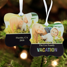 Vacation Memory Personalized Photo Metal Ornament Ornate 3