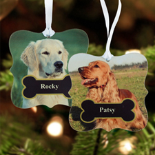 Furry & Bright Personalized Photo Metal Ornament Ornate 3