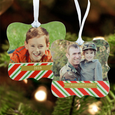 Happy Holidays Personalized Photo Metal Ornament Ornate 3