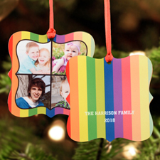 Colorful Stripes Personalized Metal Ornament Square 3X3
