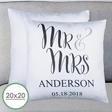 Mr. And Mrs. Personalized Large Pillow Cushion Cover 20