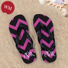 Black Pink Chevron Personalized Flip Flops, Women Medium