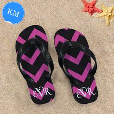 Black Pink Chevron Personalized Flip Flops, Kid Medium