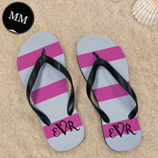 Pink Grey Stripe Flip Flops, Men Medium