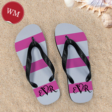 Pink Grey Stripe Flip Flops, Women Medium