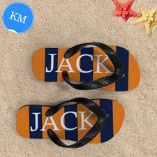 Navy Orange Stripe Personalized Flip Flops, Kid Medium