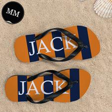 Navy Orange Stripe Personalized Flip Flops, Men Medium