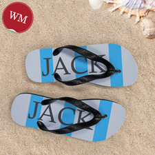 Blue Grey Stripe Personalized Flip Flops, Women Medium